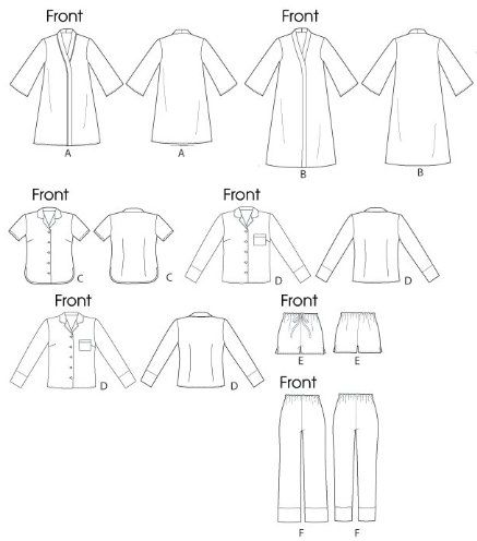 mccall patterns m6659 misses robe belt tops shorts and pants