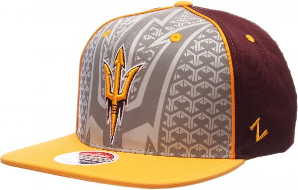 reputable site 63875 8542d Zephyr NCAA Arizona State Sun Devils Men s Reflector Snapback Hat,  Silver Maroon, Adjustable. by Zephyr, Hats   Caps - 19 ratings