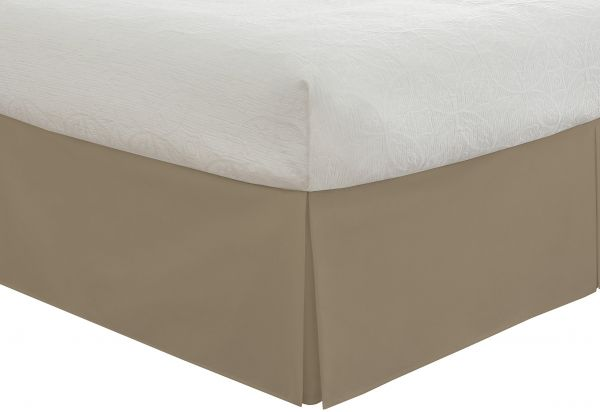Fresh Ideas Tailored Poplin Bedskirt 14 Inch Drop Queen Mocha