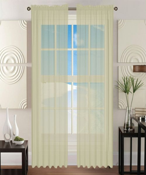 "Elegant Comfort 2-Piece SHEER Window CURTAIN/PANEL with 2"" ROD POCKET - Window Curtain Treatment, All Sizes and Many Colors Available 60""w X 84"" Beige ..."