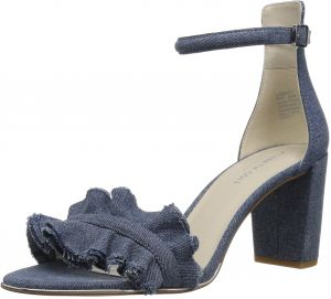 66f12491608 Kenneth Cole New York Women s Langley Ankle Ruffle Detail on Front Strap  Heeled Sandal