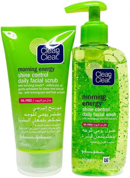 Clean & Clear Morning Energy Shine Control and Daily Facial Scrub, 150 ml +  Morning Energy Shine Control Daily Face Wash, 150 ml