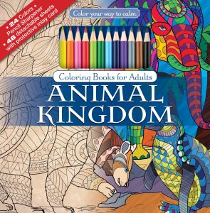 Animal Kingdom Adult Coloring Book Set With 24 Colored Pencils And Pencil Sharpener Included Color Your Way To Calm