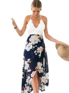 24b2cefadcb4d Blooming Jelly Women's Deep V Neck Sleeveless Summer Asymmetrical Floral  Maxi Dress, White/blue, Large