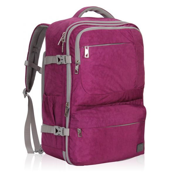 e56b76dfe072 Hynes Eagle 44L Carry on Backpack Flight Approved Compression Travel Pack  Cabin Bag, Purple