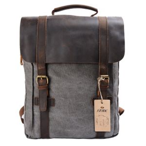 S-ZONE Retro Canvas Leather School Travel Backpack Rucksack 15.6-inch Laptop  Bag ce01d22269ed9