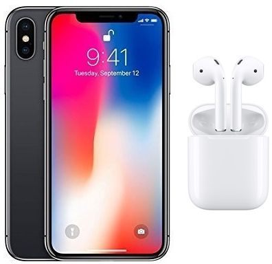purchase cheap 1fd1f dce78 Apple iPhone X without FaceTime - 64GB, 4G LTE, Space Grey with Apple  Wireless AirPods, White - MMEF2
