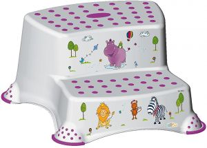 Surprising Keeeper Hippo Double Step Stool With Anti Slip Function White Pabps2019 Chair Design Images Pabps2019Com