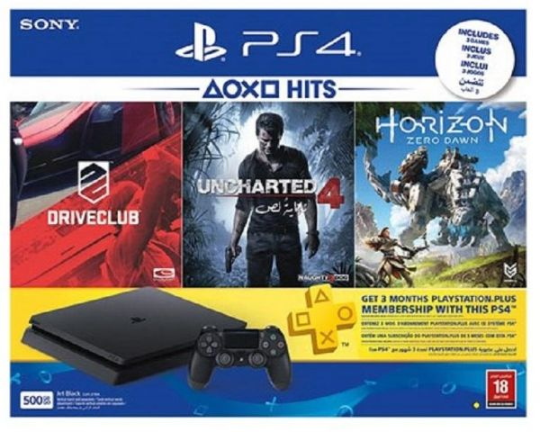 Playstation 4 500 GB Console with 3 Games and 90 Days Membership Card (PS4)
