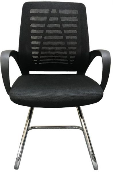 Neo Front black color stainless steel material mesh visitor chair for office