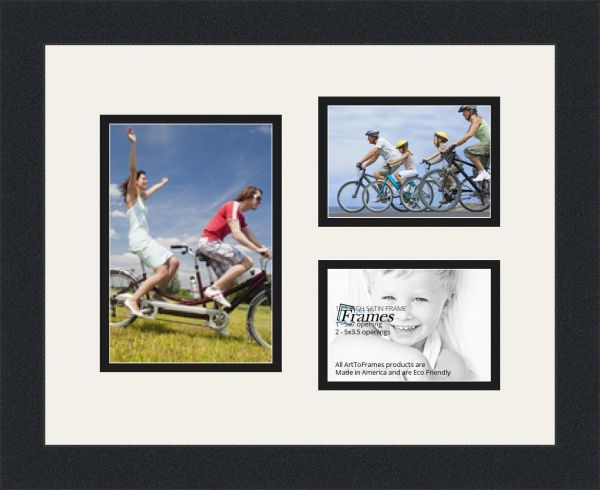 Arttoframes Collage Photo Frame Double Mat With 3 Openings And Satin