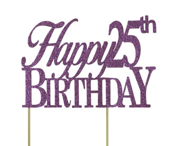All About Details Purple Happy 25th Birthday Cake Topper