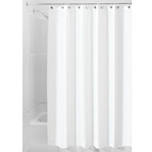 InterDesign Waterproof Mold And Mildew Resistant Fabric Shower Curtain 72 Inch By White Extra Long 15062