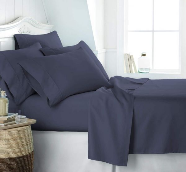 Simply Soft 6 Piece Ultra Soft Bed Sheet Set California King Blue  SS 6PC CALKING NAVY