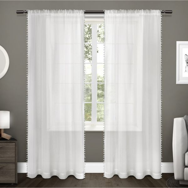Exclusive Home Curtains Kids Pom Textured Sheer Bordered Lique Rod Pocket Window Curtain Panel Pair 108 Length White Eh8274 01 2 108r