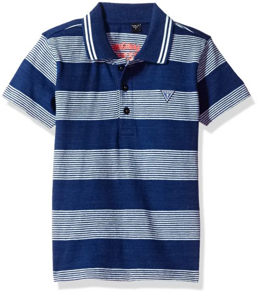 63a5a435 GUESS Little Boys' Short Sleeve Yarn Dyed Strip Polo Shirt, Stripes Blue/ White, 5 | KSA | Souq