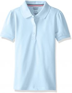 c1f650b61 French Toast Girls Plus Size' Short Sleeve Stretch Pique Polo, Light Blue,  XL (18/20P)