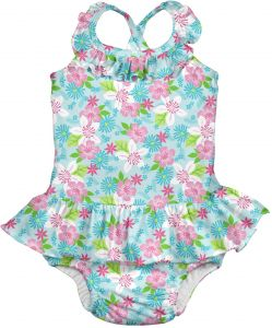 faae51ddcc Baby Girls  1pc Ruffle Swimsuit with Built-in Reusable Absorbent Swim  Diaper