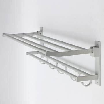 Wall Mounted Bathroom Towel Rail Holder Storage Home Double Rack