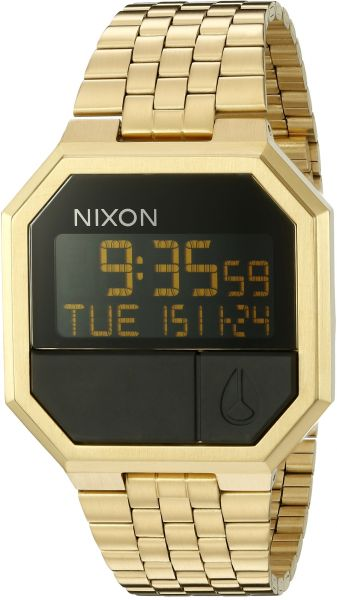 e880d4d61d2 Nixon Re-Run A158502-00. Men s Digital Gold Watch (38.5mm Digital Watch  Face. 13-18mm All Gold Band)