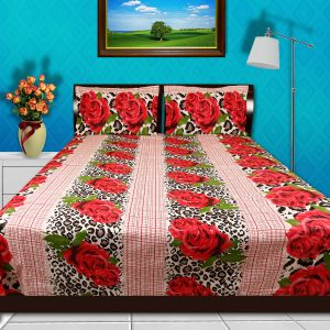 d9221fea2 Just Linen Multi Color Queen Size 86 x 100 inches Flat Bedsheet with Pillow  Covers - 3 Pieces
