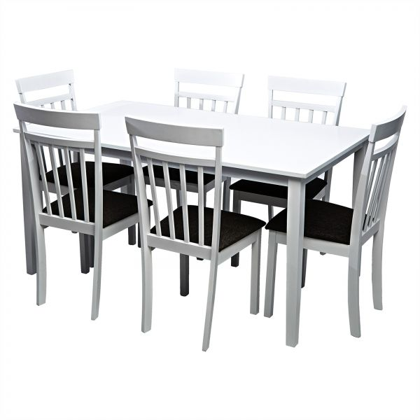 AFT Solid Wood Dining Table, 6 Seater - White