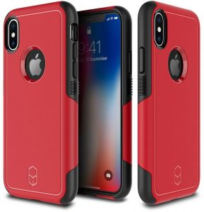 Apple iPhone X Patchworks Level Aegis Back Case Cover - Red