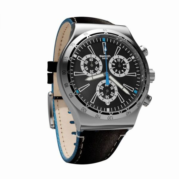 54292e6a1 Swatch Leather Analog Casual Watch For Men - Black Blue, YVS442 | Souq -  Egypt