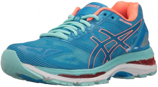 c7877d55655a3a ASICS Women s Gel-Nimbus 19 Running Shoe, Diva Blue Flash Coral Aqua  Splash, 6 D US