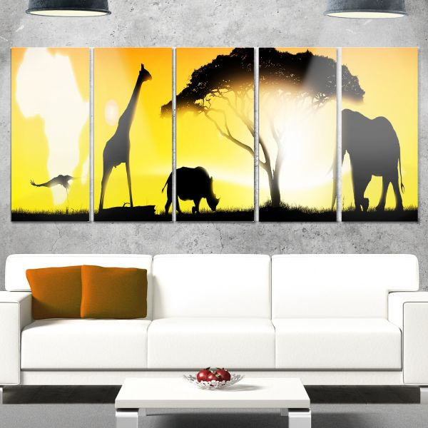 Souq | Designart MT13054 African Wildlife Panorama - African Glossy ...