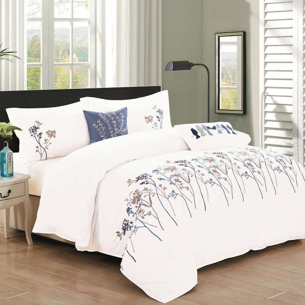 North Home Kimberly5dcqn 100 Cotton Duvet Cover Queen White 5