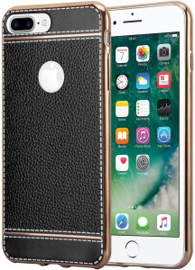 Apple iPhone 8plus case/cover Leather texture, electro plated, tpu bumper case cover