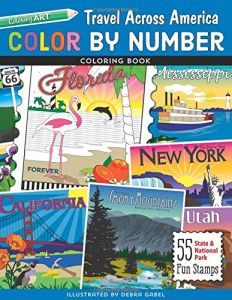 Color By Number Travel Across America Coloring Book Debra