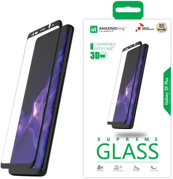 huge discount b0c07 1d77e Amazing Thing Samsung Galaxy S9 PLUS 3D Curved Glass Screen Protector -  Fully Covered S9 PLUS Supreme Glass