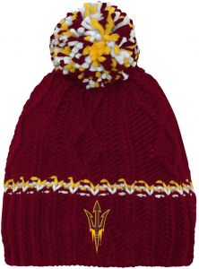 b76085f0489 NCAA by Outerstuff NCAA Mississippi Old Miss Rebels Youth Girls Cable Knit  Cuffless Hat w  Pom