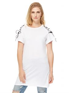 8c6fae3b202 GLAMOROUS Women s White Lace Up Sleeve Detail T-Shirt Dress