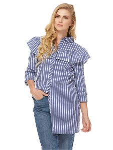 33aa47370a5bc2 GLAMOROUS Women s Blue With White Stripe Frill Shoulder Shirt Dress