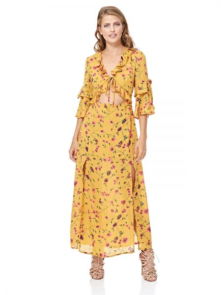 af75eeed044 GLAMOROUS Women s Mustard Floral Print Tie Front Maxi Dress. by glamorous
