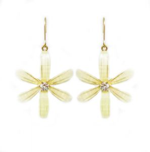 422a46ea9 Women s 18K Gold Plated Charm Drop Flower Earring Off White Gemstone Gold  Color