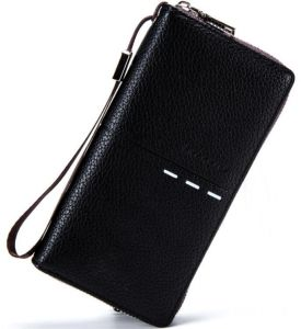 6ea92c29e61b BABORRY Fashion Man Long Clutch Purse Business Leather Wallet with Coin  Pocket and Card Hold - Black