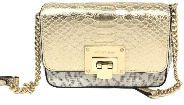 56f49ff62d39f Michael Kors 35H7GT4C1B Tina Vanilla Pale Gold MK Signature Logo Small  Clutch Crossbody Bag