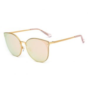 4286f6e1de99a DONNA Trendy Oversized Mirrored Sunglasses Cat Eye Frame Circle Lens Hippie  Hipster Style D09(Rose Gold)