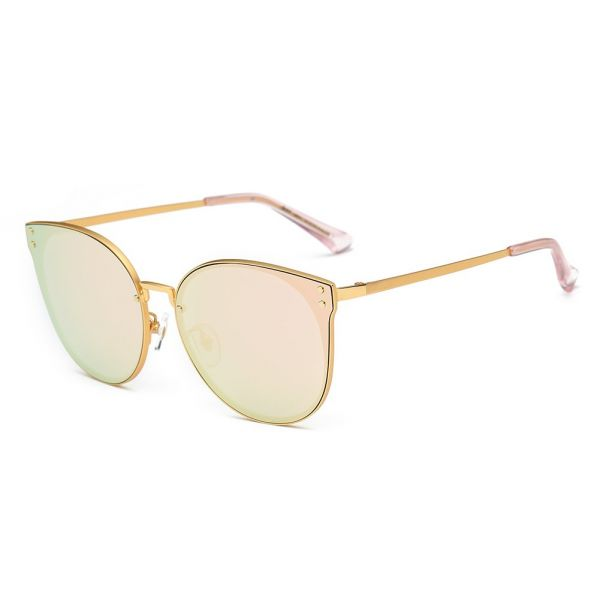 739fcbe3c3c DONNA Trendy Oversized Mirrored Sunglasses Cat Eye Frame Circle Lens Hippie  Hipster Style D09(Rose Gold)
