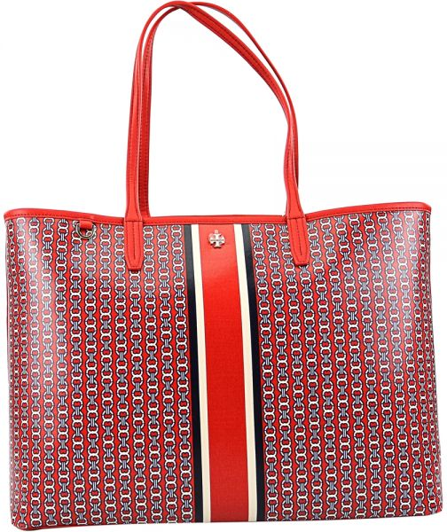 Tory Burch Gemini Tote Bag for Women, Leather - Red