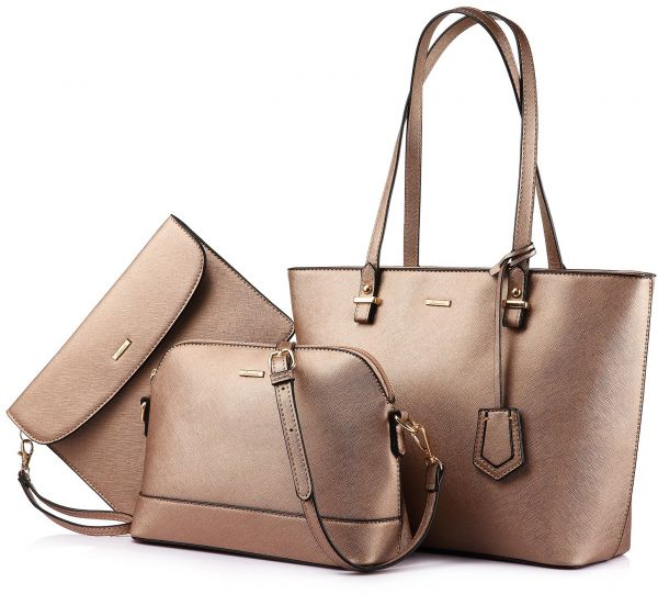 Handbags for Women Shoulder Bags Tote Satchel Hobo 3pcs Purse Set Bronze  gold  3537796648eae