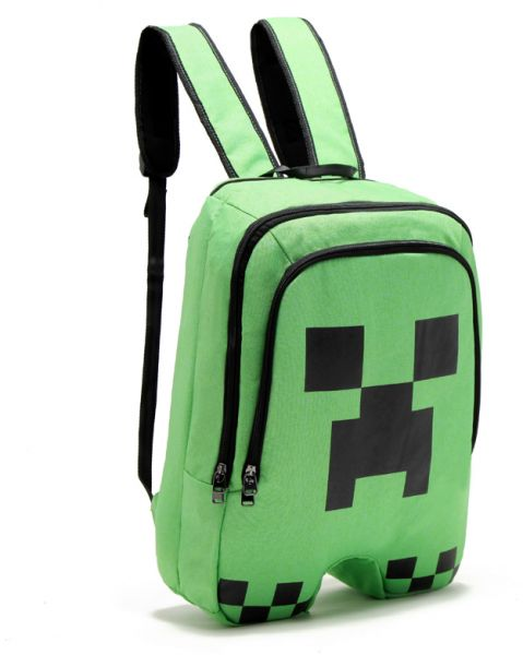 Minecraft Creeper pattern school bag Large capacity doube-shoulder bag  Students backpack  8b9e85c70e192