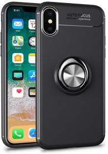 new style 145ef 964f2 iPhone X Case with Ring Holder Kickstand Function Slim Magnetic 360 Degrees  Rotating Ring Holder Premium TPU Shockproof Protective Case Cover - Black
