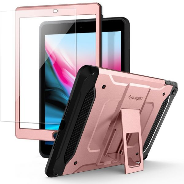 reputable site 6ec7d f7661 Spigen Apple iPad 9.7 inch (2017) Tough Armor TECH kickstand cover / case -  Rose Gold - Full Cover with Tempered Glass Screen Protector