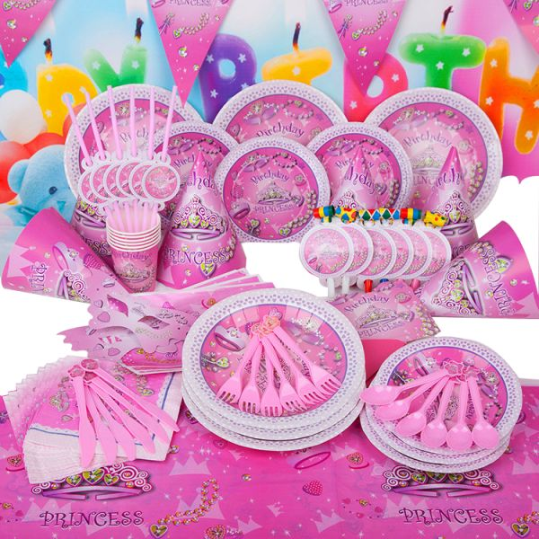Princess Birthday Party Pack Banner Hats Invitation Loot Bags Outs Horns Plate Cups Napkins Table Cover Spoons Knives Forkasks