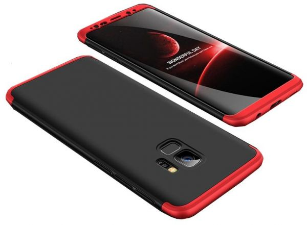 low priced a0a52 e05d2 Samsung Galaxy S9 Plus GKK Case 360 Degree 3 in 1 Full Body Protection Hard  PC Cover - Black Red